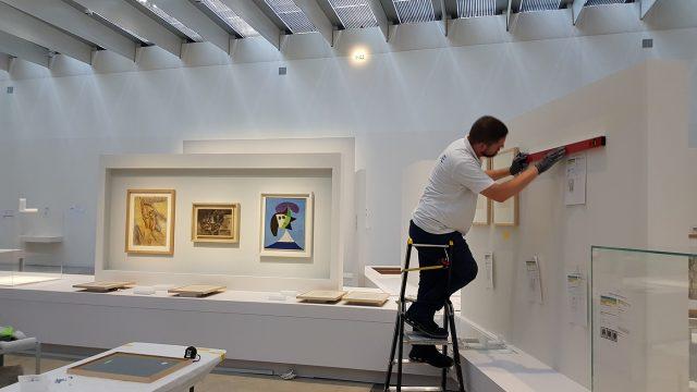 Montage de l'exposition <i>Les Louvre de Pablo Picasso</i>   Sept 2021